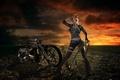 Картинка девушка, оружие, мотоцикл