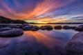 Картинка пейзаж, озеро, камни, рассвет