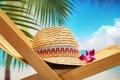 Картинка пляж, цветок, шляпа, стул