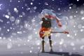Картинка зима, девушка, снег, гитара, месяц, арт, пар