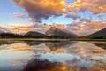 Картинка небо, закат, озеро, Горы, канада