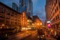 Картинка улица, небоскребы, вечер, Чикаго, фонари, USA, Chicago
