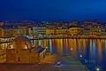 Картинка ночь, огни, дома, Греция, Старый город, Ханья, Венецианская гавань