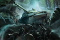 Картинка скалы, солдаты, танк, World of Tanks