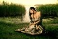 Картинка девушка, природа, старина, озеро, платье, красавица, средневековье