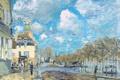 Картинка разлив реки, Alfred Sisley, небо, облака, весна, городок, наводнение
