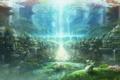 Картинка вода, девушка, облака, деревья, птицы, природа, город