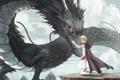 Картинка девушка, горы, дракон, аниме, арт, объятия, накидка