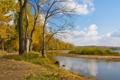 Картинка осень, небо, облака, деревья, река, остров