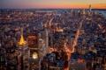 Картинка город, огни, Нью-Йорк, вечер, США