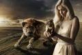 Картинка девушка, Photoshop, тигрёнок, саблезубый, Photomanipulation
