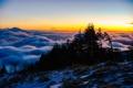 Картинка небо, облака, деревья, пейзаж, гора, панорама
