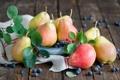 Картинка Фрукты, черника, груши, листва, ягоды
