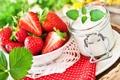 Картинка клубника, десерт, ягодки, strawberry, berries, йогурт, mint