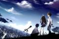 Картинка небо, девушка, звезды, облака, город, дома, аниме