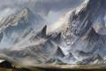 Картинка поле, пейзаж, горы, город, фантастика, скалы, человек