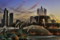 Картинка США, фонтан, город, Chicago, Иллиноис, illinois, небоскребы
