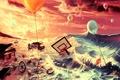 Картинка море, машина, воздушные шары, фантазия, мячи, арт, воздушный змей