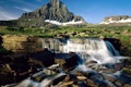 Картинка небо, трава, ручей, гора, водопад