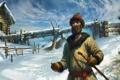 Картинка мужик, зима, арт, снег, русь, деревня