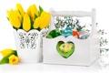 Картинка Пасха, тюльпаны, яйца, цветы