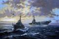 Картинка Небо, Море, Рисунок, Самолет, Корабль, Авианосец, Эсминец