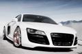 Картинка белый, небо, горы, Audi, ауди, парковка, white