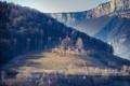 Картинка небо, трава, деревья, горы, склон, каньон