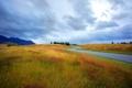 Картинка дорога, осень, небо, облака, горы, степь