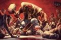 Картинка взгляд, пальмы, кровь, молот, зомби, вилка, трупы