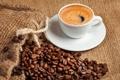 Картинка пена, кофе, чашка, напиток, кофейные зёрна, блюдце