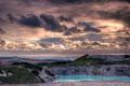 Картинка облака, небо, карьер, озеро