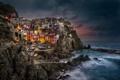Картинка Manarola, звезды, ночь, Провинция Специя, город, Регион Лигурия, Италия