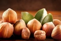Картинка орехи, листики, фундук орех