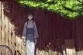 Картинка забор, Девушка, колесо, кимоно