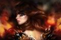 Картинка девушка, лицо, огонь, пламя