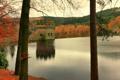 Картинка осень, небо, деревья, озеро, башня