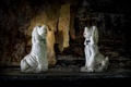 Картинка собаки, фон, статуэтки
