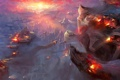 Картинка тучи, город, огонь, взрывы, корабли, битва, в небе