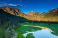 Картинка лес, небо, закат, горы, река