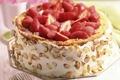Картинка клубника, крем, тортик, миндаль, орешки, десерт, торт