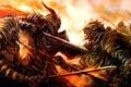 Картинка пламя, демон, рога, Воины, битва