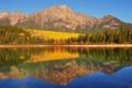 Картинка осень, лес, горы, озеро, отражение, берег, Канада