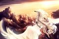 Картинка солнце, облака, полет, ленты, конь, крылья, руки