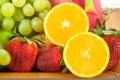 Картинка лимон, яблоко, клубника, виноград, фрукты