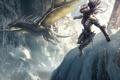 Картинка девушка, снег, горы, скалы, дракон, доспехи, маг