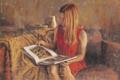 Картинка девушка, лицо, комната, диван, волосы, арт, рисунки