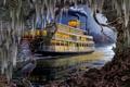 Картинка река, арт, пароход, цапля, Roberta Wesley, Night on the River