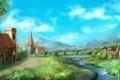 Картинка река, дома, арт, горы, зелень, городок
