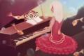 Картинка девушка, рыбки, музыка, платье, арт, пианино, живопись